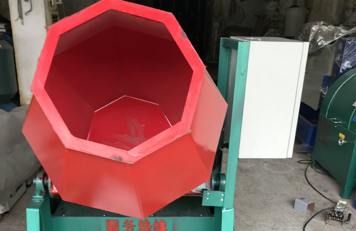 Rotary-Tilt-Barrel-tumbling-Machine-front-view