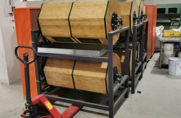 Wood-rotary-barrel-polisher-machine