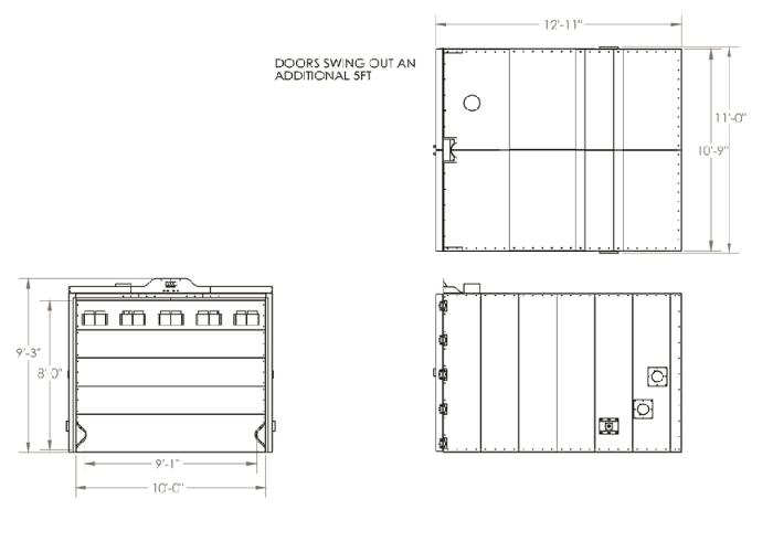 8x8x10 Powder Coat Oven Drawing