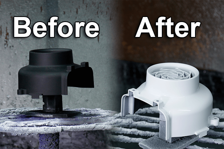 Powder coating before and after
