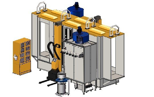 Single Color Automatic Powder Coating Booth System -KL-S-1