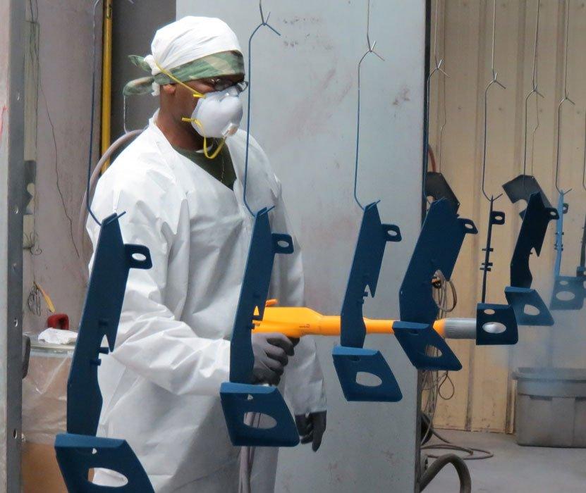 powder coating on multiple parts