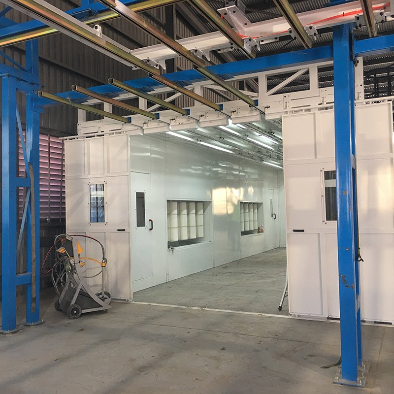 powder spray booth from outside