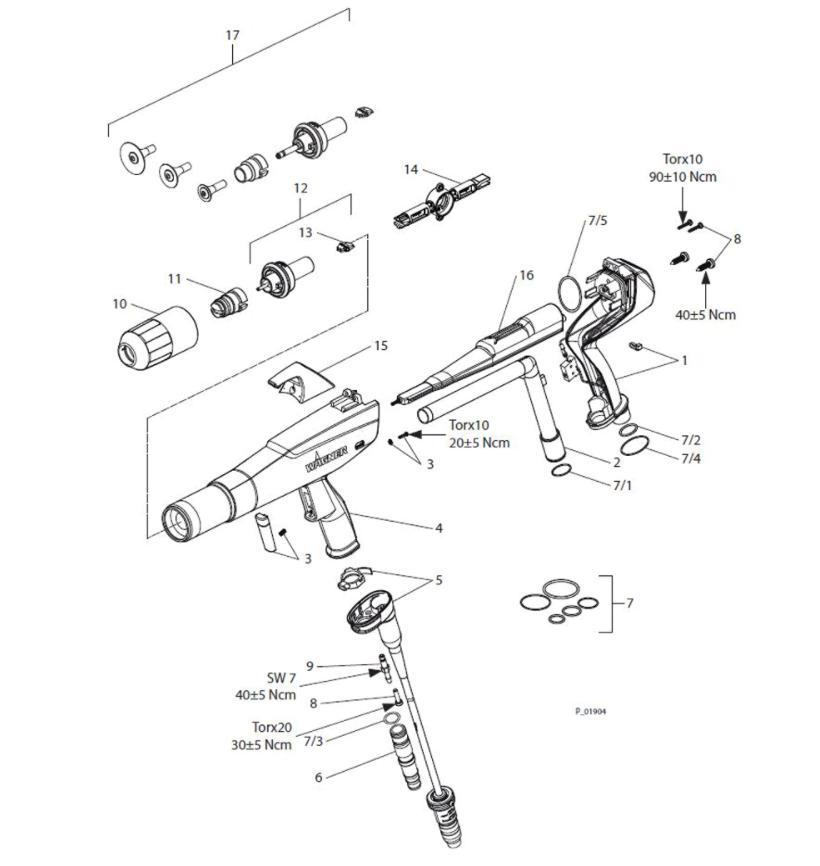 wagner powder coating machine gun drawing