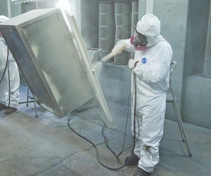 powder coating procedure in progress